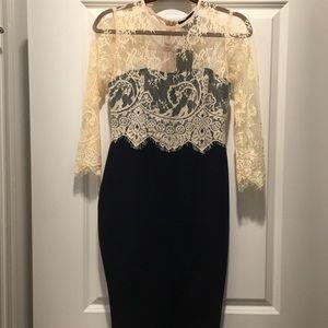 Beige lace/black dress